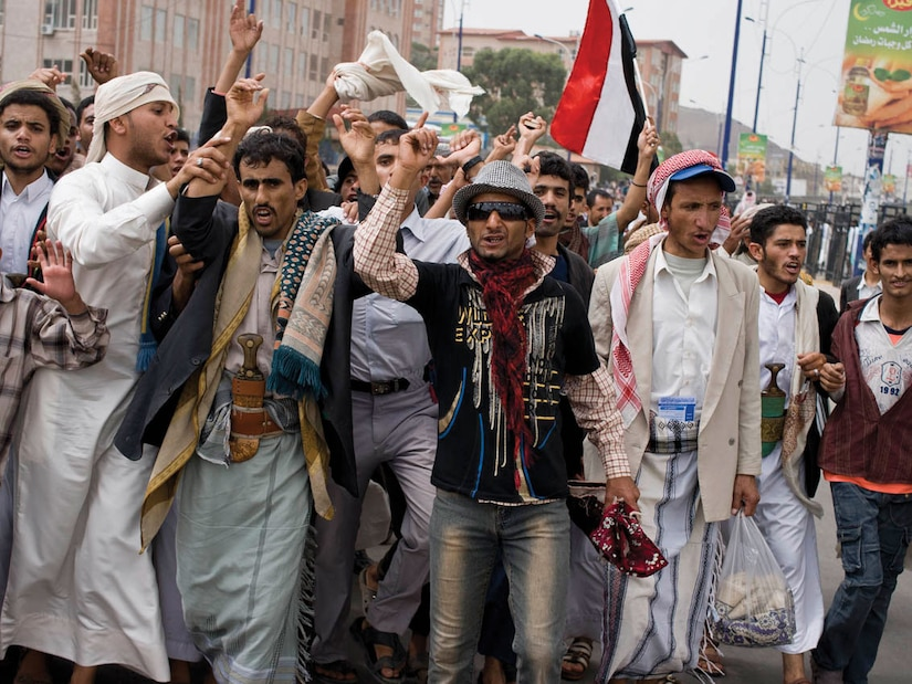 Yemeni protesters, August 2011.