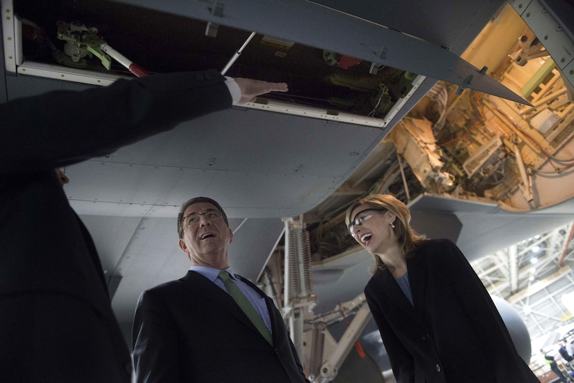 Defense Secretary Ash Carter, center, tours a Boeing KC-46 aircraft at the Boeing facilities in Seattle, March 3, 2016. DoD photo by Navy Petty Officer 1st Class Tim D. Godbee