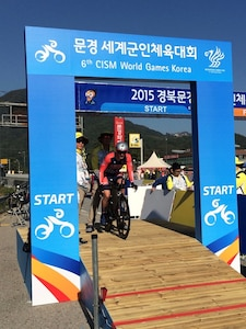 Air Force Major Ian Holt at the Conseil International du Sport Militaire (CISM) 6th Military World Games in Mungyeong, South Korea 2-11 October 2015.