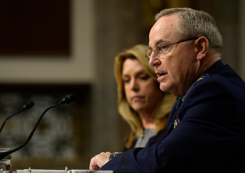 Secretary of the Air Force Deborah Lee James and Air Force Chief of Staff Gen. Mark A. Welsh III testify before the Senate Armed Services Committee on the Air Force posture in Washington, D.C., March 3, 2016. During their comments, the top leaders emphasized the challenges of balancing between budget reductions and maintaining readiness within the service.  (U.S. Air Force photo/Scott M. Ash)