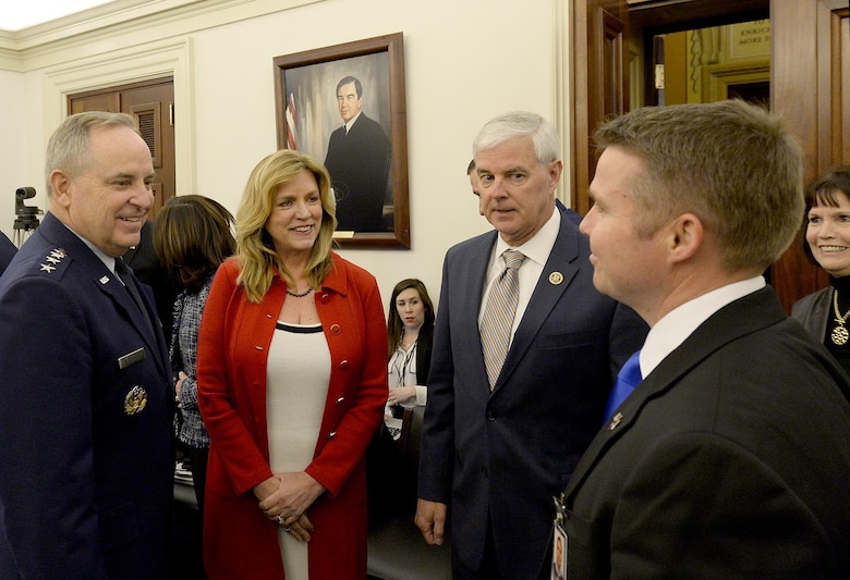 Secretary of the Air Force Deborah Lee James and Air Force Chief of Staff Gen. Mark A. Welsh III meet with Rep. Steve Womack and a Congressional staff member before testifying on current Air Force posture in front of the House Appropriations Committee on Defense in Washington, D.C., March 2, 2016. (U.S. Air Force photo/Scott M. Ash)