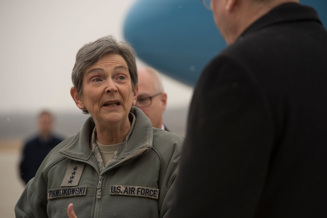 Air Force Gen. Ellen M. Pawlikowski, commander, Air Force Materiel Command, speaks with Deputy Secretary of Defense Bob Work as he arrives at Wright-Patterson Air Force Base, Ohio, for a visit and a tour of the base March 3, 2016. DoD photo by Air Force Senior Master Sgt. Adrian Cadiz