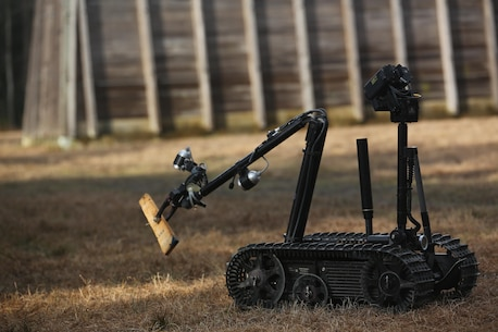 A TALON robot, operated by Marines with Explosive Ordnance Disposal  Platoon, Combat Logistics Battalion 2, scouts an area for improved explosive devices during a field exercise at Camp Lejeune, N.C., March 2, 2016. The training served as the last field operation prior to the battalion's upcoming deployment with the Special Purpose Marine-Air Ground Task Force-Crisis Response-Africa. (U.S. Marine Corps photo by Cpl. Paul S. Martinez/Released)