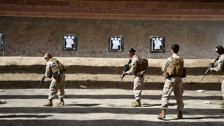 U.S. Marines with the 26th Marine Expeditionary Unit conduct live-fire training with the Kuwait Ministry of the Interior VIP Protection Unit, Female Division during an exchange with the 26th MEU's Female Engagement Team Jan. 31 to Feb. 11, 2016, in Kuwait City, Kuwait. The 26th MEU is embarked on the Kearsarge Amphibious Ready Group and is deployed to maintain regional security in the U.S. 5th Fleet area of operations.