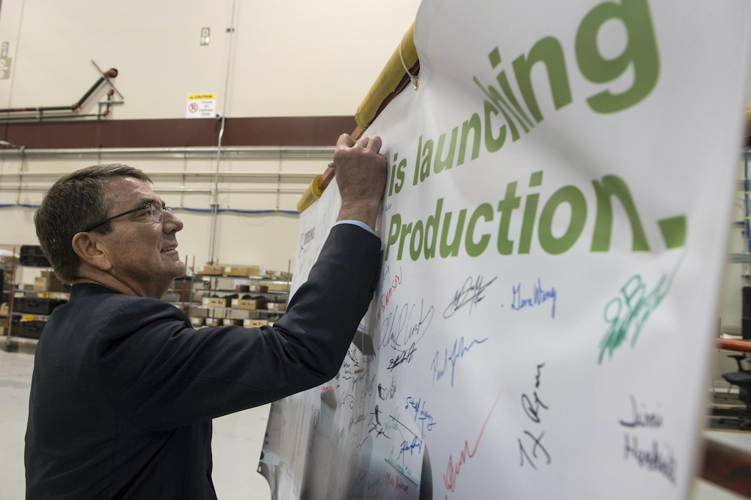 Defense Secretary Ash Carter signs the Boeing guest board in Seattle, March 3, 2016. Carter is in Seattle to strengthen ties between the Department of Defense and the tech community DoD photo by Navy Petty Officer 1st Class Tim D. Godbee