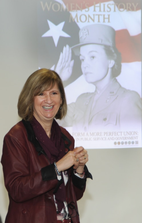 Sue Engelhardt, USACE Director of Human Resources, delivered two engaging presentations for Huntsville Center supervisors and employees March 2 to kick off Women's History Month.