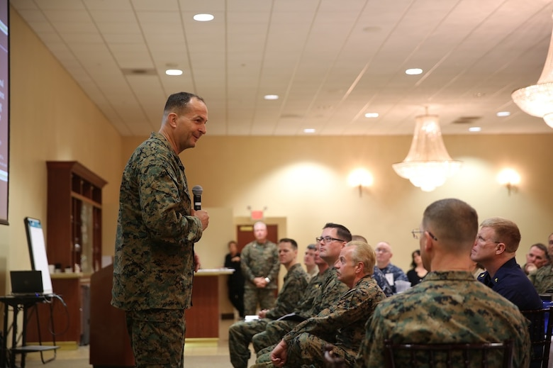 Maj. Gen. Daniel J. O'Donohue speaks at the Naval Chaplaincy Excellence award ceremony at Camp Pendleton, Feb. 23, 2016. The ceremony recognized Lt. Michael Kennedy and Petty Officer 3rd Class Dawaylon Farr for going above and beyond the call of duty to provide spiritual guidance and renewed faith to Marines and sailors serving I Marine Expeditionary Force. O'Donohue, the commanding general of 1st Marine Division, was a guest speaker and presented awards to the recipients.  Kennedy is a chaplain with 1st Battalion, 1st Marine Regiment, 1st Mar. Div. Farr is a religious program specialist with 1st Bn., 4th Marines. (U.S. Marine Corps photo by Pvt. Robert Bliss/Released)