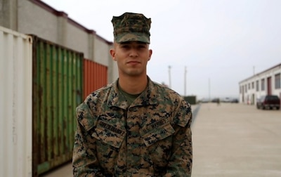 "Lance Cpl. Miguel GomezHernandez enlisted in the Marine Corps in August 2014 knowing he wanted to work on communications electronics; so he became a telephone systems computer repairman and was assigned to Repairable Management Company, 1st Maintenance Battalion, 1st Marine Logistics Group. GomezHernandez didn't find anything appealing in being average, so he took company honor graduate in recruit training and graduated top of his class in Military Occupational Specialty school. As he continued to become a motivated and exceptionally well-rounded Marine, he was recently meritoriously promoted to corporal and also named 1st MLG Marine of the Year. ""This is all really humbling,"" said GomezHernandez, ""This isn't the end for me though, I still have bigger goals in mind."" GomezHernandez, from Tampa, Fla., says that the inspiration from his Navy JROTC mentor Sgt. Maj. Hall (USMC Ret.) coupled with his wife and family's continued support keeps him pushing forward in his career."