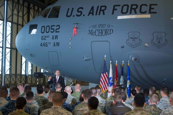 Defense Secretary Ash Carter addresses troops during a visit to Joint Base Lewis-McChord, Wash., March 4, 2016. Carter said service members constitute a significant asset as the military faces challenges and rebalances to the Asia-Pacific region. DoD photo by Navy Petty Officer 1st Class Tim D. Godbee