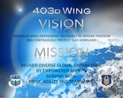 The 403rd Wing Vision and Mission statements. (U.S. Air Force graphic)