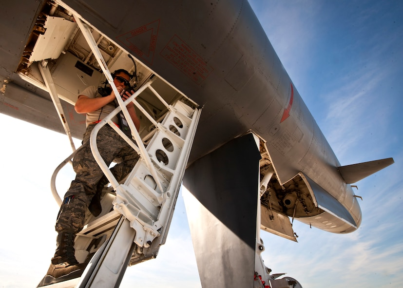 Senior Airman Cameron Docksteader, Offensive Avionics Technician  assigned to the 28th Aircraft Maintenance Squadron, performs pre-flight checks on a B-1 bomber prior to a Red Flag 16-2 training sortie at Nellis Air Force Base, Nev., March 3, 2016. Exhaustive efforts are made by ground crew members to ensure the operability of their assigned aircraft and in turn, the safety of the aircrew. (U.S. Air Force photo by Senior Airman Joshua Kleinholz)