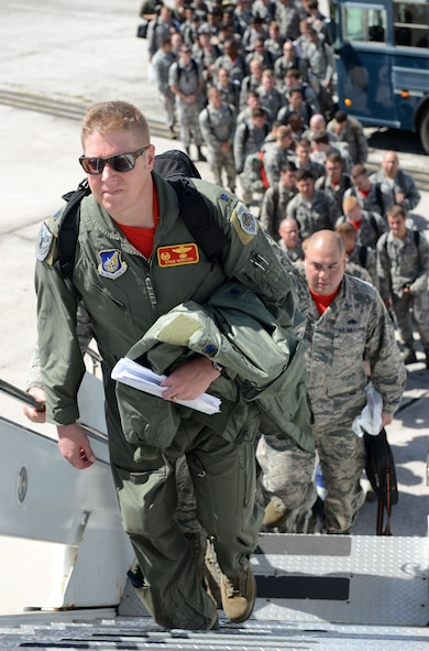 Airmen from Minot Air Force Base, N.D., prepare to leave Andersen Air Force Base, Guam, on March 4, 2016. CBP missions began March 2004 and are designed to enhance regional security and provide reassurance to allies and partners that the United States is capable to defend its national security interests in the Indo-Asia-Pacific region. (U.S. Air Force photo/Airman 1st Class Arielle Vasquez)
