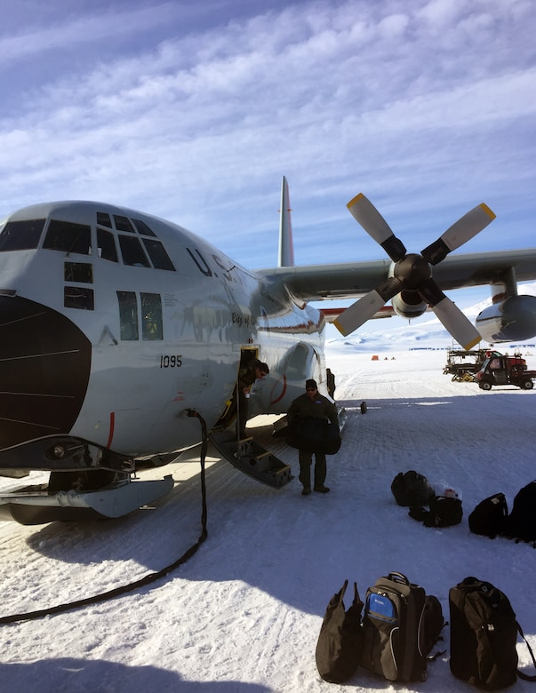 The 109th Air Wing played a critical role in supporting the National Science Foundation (NSF) in Antarctica recently by providing the use of the LC-130 Hercules, an aircraft that is ski-equipped, to transport personnel and vital supplies to the continent. Air National Guard units provide this assistant annually.(Courtesy photo of Air National Guard Member Master Sgt. Nicole Wagoner)