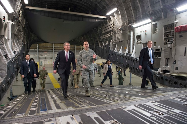 Defense Secretary Ash Carter tours a C-17 during a visit to Joint base Lewis-McChord, Wash., March 4, 2016. DoD photo by Navy Petty Officer 1st Class Tim D. Godbee