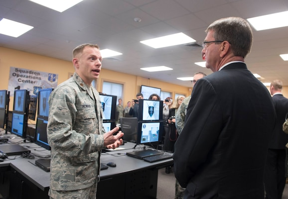 Defense Secretary Ash Carter receives a brief on the capabilities of the National Guard Cyber Unit on Joint base Lewis-McChord, Wash., March 4, 2016. DoD photo by Navy Petty Officer 1st Class Tim D. Godbee