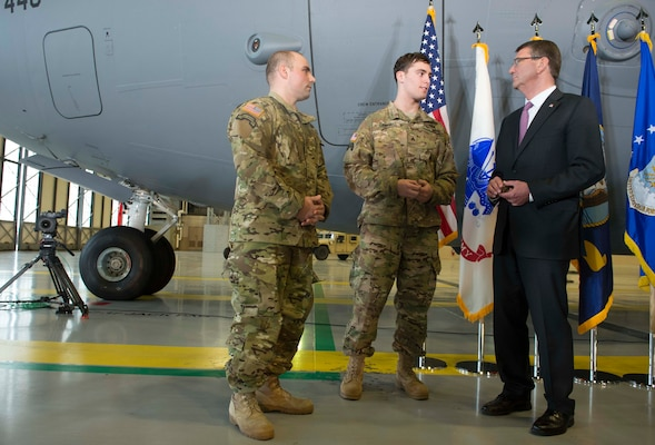 Defense Secretary Ash Carter meets with Army Sgt. First Class Hastings, left, and Army Sgt. Campbell, both wounded in Afghanistan, during a visit to Joint base Lewis-McChord, Wash., March 4, 2016. DoD photo by Navy Petty Officer 1st Class Tim D. Godbee
