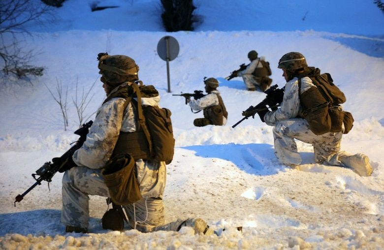Marines with 2nd Low Altitude Air Defense Battalion post security in Namsos, Norway, March 3, 2016, during Exercise Cold Response 16. The landing reinforced the unit's capabilities of operating in winter terrain and cold-weather environments. During Cold Response, 13 NATO allies and partner nations and about 15,000 troops enhance their skill sets and strengthen their bonds.