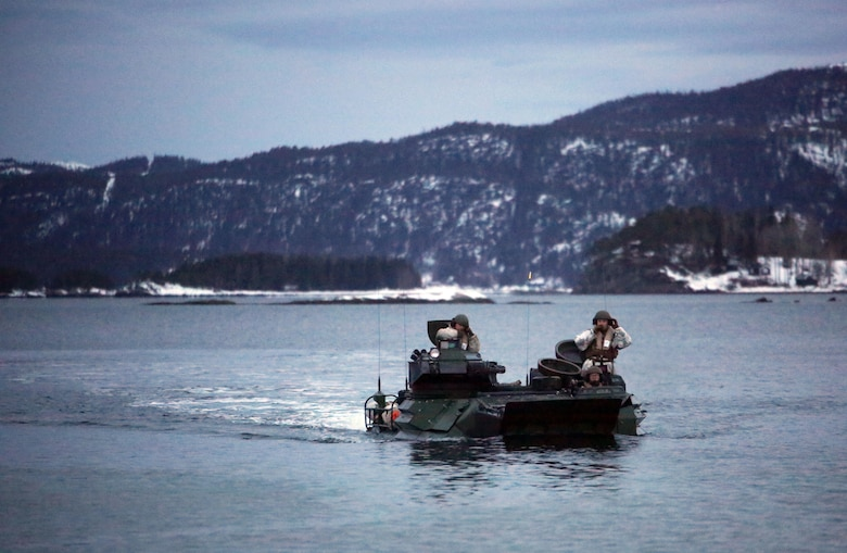 Marines with 2nd Assault Amphibian Battalion navigate a fjord in Namsos, Norway, March 3, 2016, during Exercise Cold Response 16. The landing reinforced the unit's capabilities of operating in winter terrain and cold-weather environments. During Cold Response, 13 NATO allies and partner nations and about 15,000 troops enhance their skill sets and strengthen their bonds.