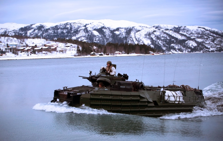 Marines with 2nd Assault Amphibian Battalion storm a fjord in Namsos, Norway, March 3, 2016, during Exercise Cold Response 16. The landing reinforced the unit's capabilities of operating in winter terrain and cold-weather environments. During Cold Response, 13 NATO allies and partner nations and about 15,000 troops enhance their skill sets and strengthen their bonds.