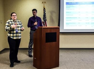 Megan Garrett and Ken Baldauff, members of the district's 2016 Leadership Development Program, present the Action Plan to the district senior leadership during the Feb. 19, leadership workshop.