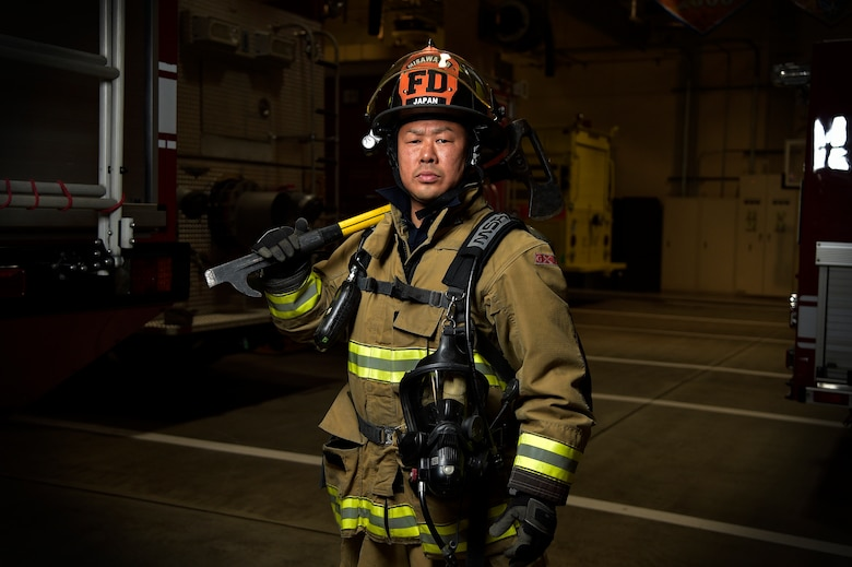 Takuya Kanto, a civilian firefighter with the 35th Civil Engineer Squadron, poses for a photo at Misawa Air Base, Japan, March 3, 2016. Kanto has been a MAB firefighter for over 20 years and frequently dedicates his time to visiting local villages that were affected by the 2011 Great East Japan earthquake and tsunami. Together with American military members, Kanto continues to strengthen the relationship between the U.S. and Japan by being an active member of the local community. (U.S. Air Force photo by Senior Airman Patrick S. Ciccarone)