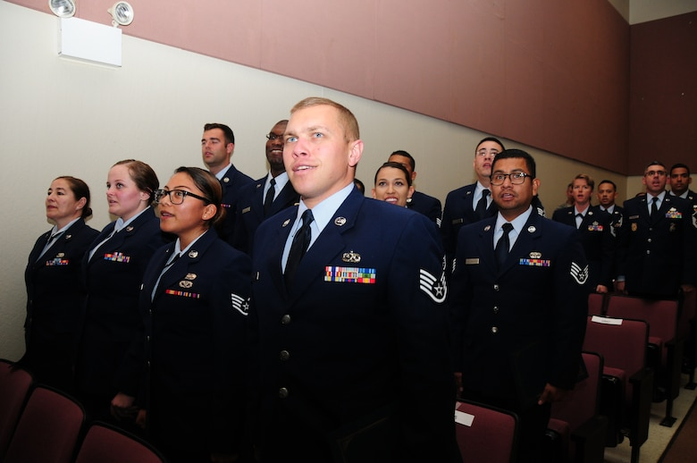 146th Airlift Wing NCO and Senior NCO inductees recite the Airman's Creed during a ceremony on March 6, 2016 at Channels Islands Air National Guard Base, Calif. The ceremony was held to induct NCO and Senior NCO selectees. (Photos by Air National Guard Senior Airman Madeleine Richards)