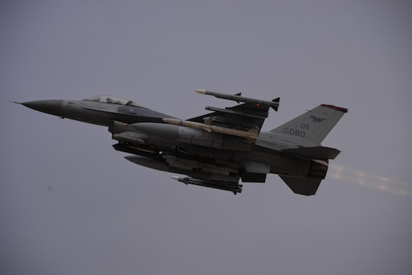 An F-16 Fighting Falcon assigned to the 36th Fighter Squadron takes off prior to the start of readiness exercise Beverly Midnight 16-01 from Osan Air Base, Republic of Korea March 7, 2016. Team Osan is participating in combat exercise Beverly Midnight 16-01 which is designed to test American forces in the ROK on their mission readiness in the event of an emergency or wartime environment. (U.S. Air Force photo by Staff Sgt. Benjamin Sutton/Released)