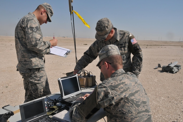 Senior Airman James McGaha (left), Airman 1st Class Chris Dial (middle) and Staff Sgt. Christopher Pfeiffer (right), 379th Expeditionary Security Force Squadron patrolmen, set up for a Raven B Digital Data Link drone, small unmanned aircraft or drone, flight Feb. 19 at Al Udeid Air Base, Qatar. Depending on the weather, the drone can fly between 60-90 minutes in duration. (U.S. Air Force photo by Tech. Sgt. Terrica Y. Jones/Released)