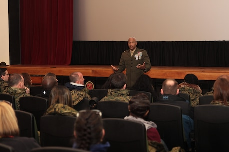 Brig. Gen. Terry V. Williams answers questions and receives feedback from participants in the Educators Workshop March 4, 2016, aboard Marine Corps Recruit Depot Parris Island, S.C. The three-day workshop will give the educators a chance to experience the day-to-day routines of recruits who go through Marine Corps bootcamp. Williams is the Commanding General of Marine Corps Recruit Depot Parris Island and Eastern Recruiting Region. (Official Marine Corps photo by Cpl. Diamond N. Peden/Released)