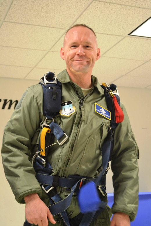 Master Sgt. Zachary Marshall, the academy military trainer for Cadet Squadron 10, became an AMT at the U.S. Air Force Academy in 2013. Along with his other pursuits, he completed the jump program via the Academy's Airmanship Program. (U.S. Air Force photo)