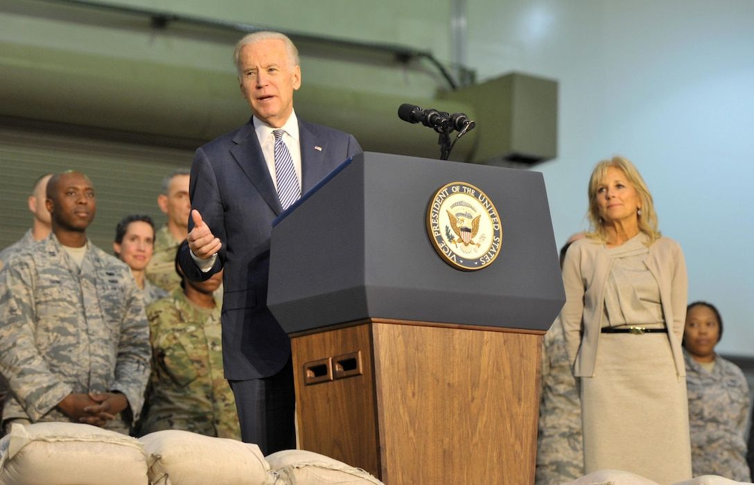 Vice President Joe Biden speaks with U.S. and coalition personnel during a visit to an undisclosed location in Southwest Asia, March 7, 2016. Biden's visit is part of his tour of the Mideast, which began March 7, 2016. (U.S. Air Force photo by Staff Sgt. Kentavist P. Brackin/released)