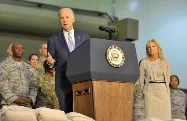 Vice President Joe Biden speaks with U.S. and coalition personnel during a visit to an undisclosed location in Southwest Asia, March 7, 2016. Biden's visit is part of his tour of the Middle East, which began March 7. (U.S. Air Force photo/Staff Sgt. Kentavist P. Brackin)