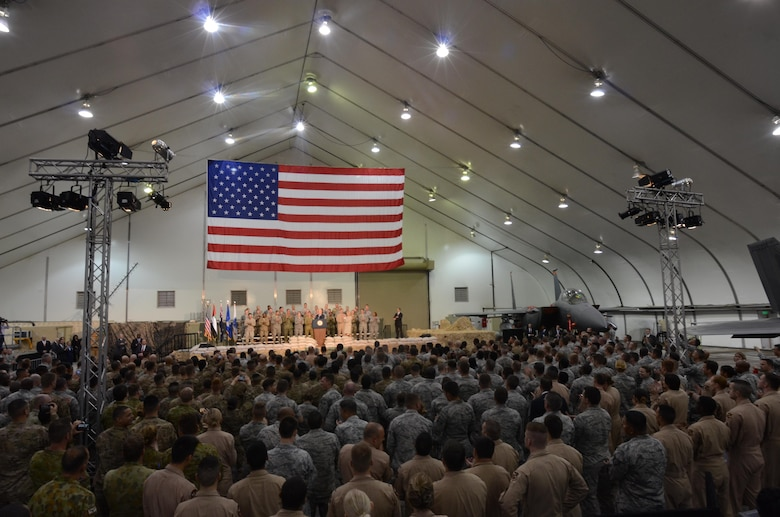 Vice President Joe Biden speaks to a crowd of more than 1,000 service members, civilians and coalition partners from five nations at an undisclosed location in Southwest Asia, Mar. 7, 2016. Biden delivered a message of thanks and appreciation for military members and their families supporting Operation Inherent Resolve. (U.S. Air Force photo by Tech. Sgt. Frank Miller/Released)