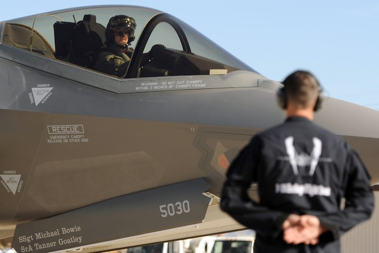 Maj. William Andreotta, F-35 heritage flight team pilot, prepares for take-off during the Heritage Flight Conference at Davis Monthan Air Force Base in Tucson, Ariz., March 4-6, 2016. The  F-35 heritage flight team from Luke Air Force Base, Ariz. is the first F-35 team to participate in the Heritage Flight Program. The program features modern USAF fighter aircraft flying alongside World War II, Korean and Vietnam era aircraft in a dynamic display of our nation's air power history. (U.S. Air Force photo by Staff Sgt. Staci Miller)