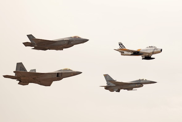 Members of the first ever F-35 Lightning II heritage flight team from Luke Air Force Base, Ariz. participate in the Heritage Flight Conference at Davis Monthan Air Force Base in Tucson, Ariz., March 4-6, 2016. The heritage flight program features modern USAF fighter aircraft flying alongside World War II, Korean and Vietnam era aircraft in a dynamic display of our nation's air power history. (U.S. Air Force photo by Staff Sgt. Staci Miller)