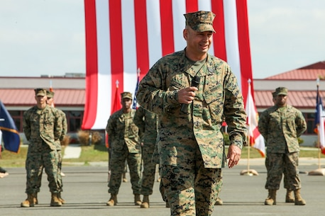 U.S. Marine Sgt. Maj. Douglas B. Schaefer, outgoing Sgt. Maj. of the 15th Marine Expeditionary Unit, speaks during a relief and appointment ceremony aboard Camp Pendleton, Calif., Mar. 4, 2016. The 15th MEU's relief and appointment ceremony signifies the passing of responsibility from Sgt. Maj. Schaefer to Sgt. Maj. Dennis K. Campbell. (U.S. Marine Corps photo by Sgt. Jamean R. Berry/Released)
