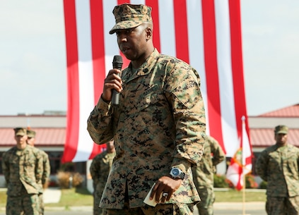 U.S. Marine Sgt. Maj. Dennis K. Campbell, incoming Sgt. Maj. of the 15th Marine Expeditionary Unit, speaks during a relief and appointment ceremony aboard Camp Pendleton, Calif., Mar. 4, 2016. The 15th MEU's relief and appointment ceremony signifies the passing of responsibility from Sgt. Maj. Douglas B. Schaefer to Sgt. Maj. Dennis K. Campbell. (U.S. Marine Corps photo by Sgt. Jamean R. Berry/Released)