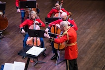 """The Marine Chamber Orchestra performed the concert """"Romantics,"""" featuring the music of Robert and Clara Schumann and Johannes Brahms on Sunday, March 6, at Northern Virginia Community College's Schlesinger Concert Hall. (U.S. Marine Corps photo by Staff Sgt. Brian Rust/released)"""