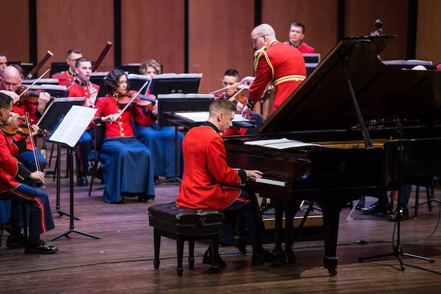 "The Marine Chamber Orchestra performed the concert ""Romantics,"" featuring the music of Robert and Clara Schumann and Johannes Brahms on Sunday, March 6, at Northern Virginia Community College's Schlesinger Concert Hall. (U.S. Marine Corps photo by Staff Sgt. Brian Rust/released)"
