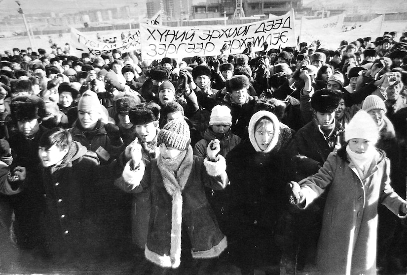 Demonstrations for democracy in Mongolia's capital city, Ulaanbaatar, in 1990. Women were deeply involved in the nation's democracy movement its earliest stages.