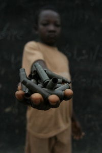 Child in a rebel camp in the northeast of the Central African Republic