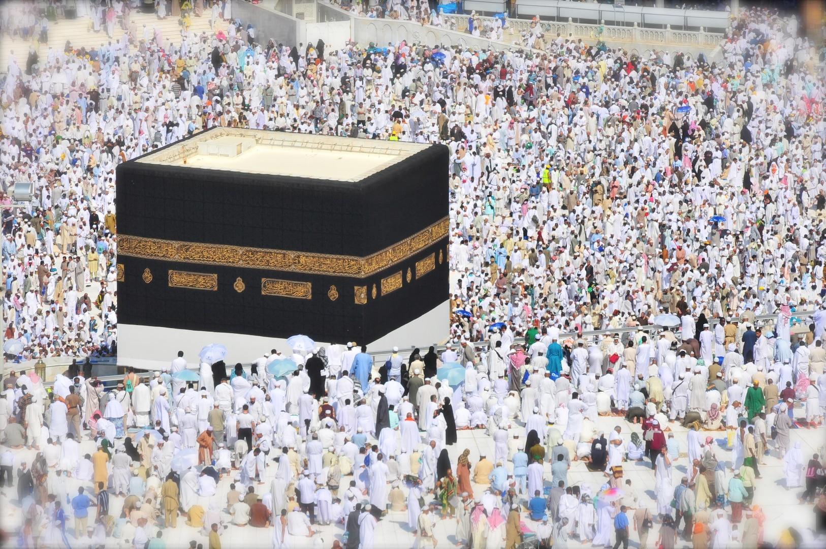 The Kaaba and the beginning of the hajj in Mecca, Saudi Arabia.