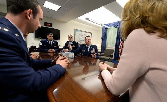 Members of the Air Force D3 Summit teams share their accomplishments with Under Secretary of the Air Force Lisa S. Disbrow in the Pentagon Feb. 29, 2016. (U.S. Air Force photo/Scott M. Ash)