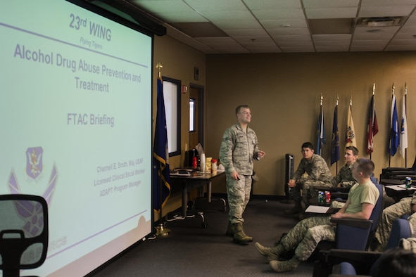 U.S. Air Force Senior Airman Jordan Sager,23d Medical Operations Squadron mental health technician, begins an alcohol drug abuse prevention and treatment briefing, Feb. 11, 2016, at Moody Air Force Base, Ga. ADAPT is a program designed to educate, prevent and treat substance abuse throughout the Air Force. (U.S. Air Force photo by Airman Daniel Snider/Released)