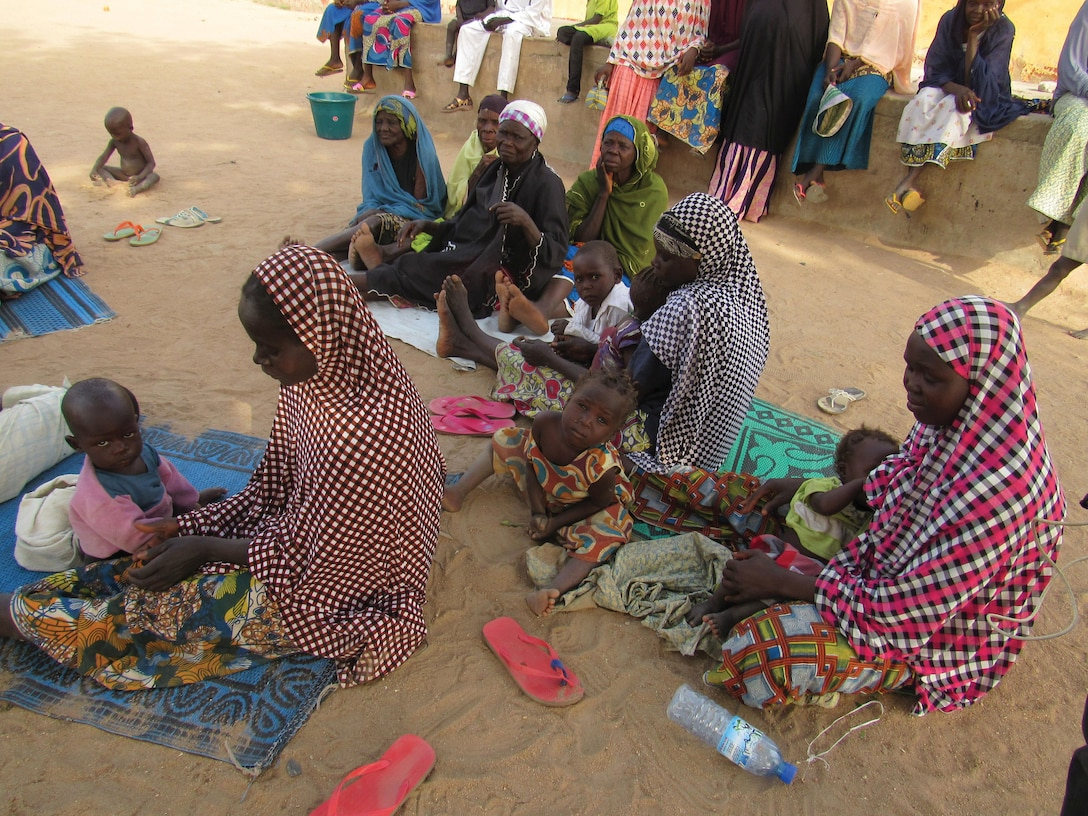 Women and children in the Fufore Camp for internally displaced people in Nigeria.