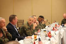 U.S. Marine Corps Lt. Gen. Michael G. Dana, Deputy Commandant, Installations and Logistics, gives opening remarks at the Installations and Logistics board brief at the Pacific Views Event Center on Camp Pendleton, Calif., March 2, 2016. The Installations and Logistics Board provides a service level to address installations and logistics matters that affect the United States Marine Corps. (U.S. Marine Corps photo by Cpl. Tyler S. Dietrich, MCIWEST-MCB CamPen Combat Camera/Released)