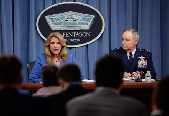 "Secretary of the Air Force Deborah Lee James and Air Force Chief of Staff Gen. Mark A. Welsh III give a press conference on the ""State of the Air Force"" in the Pentagon March 7, 2016. (U.S. Air Force photo/Scott M. Ash)"