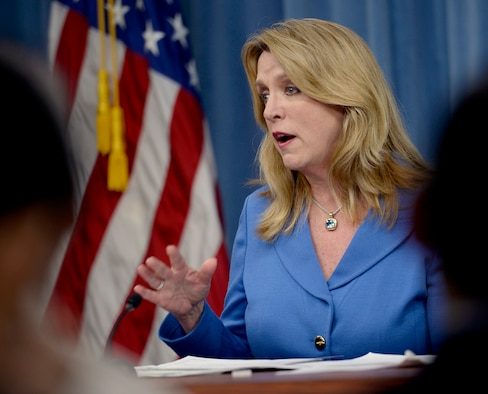 "Secretary of the Air Force Deborah Lee James gives a press conference on the ""State of the Air Force"" in the Pentagon March 7, 2016. (U.S. Air Force photo/Scott M. Ash)"