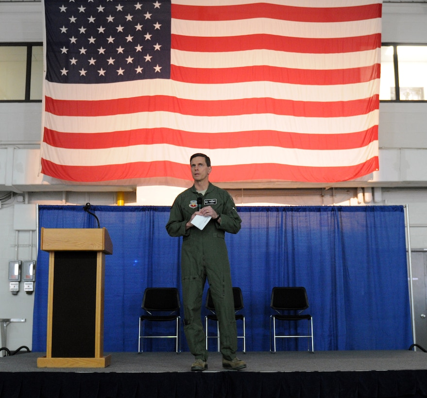 Col. Greg Semmel, 174th Attack Wing (ATKW) commander speaks during a commander's call at Hancock Air National Guard Base March 6. Semmel is set to relinquish his command of the 174th ATKW next month. (U.S. Air National Guard photo by Senior Airman Autumn Velez/Released)