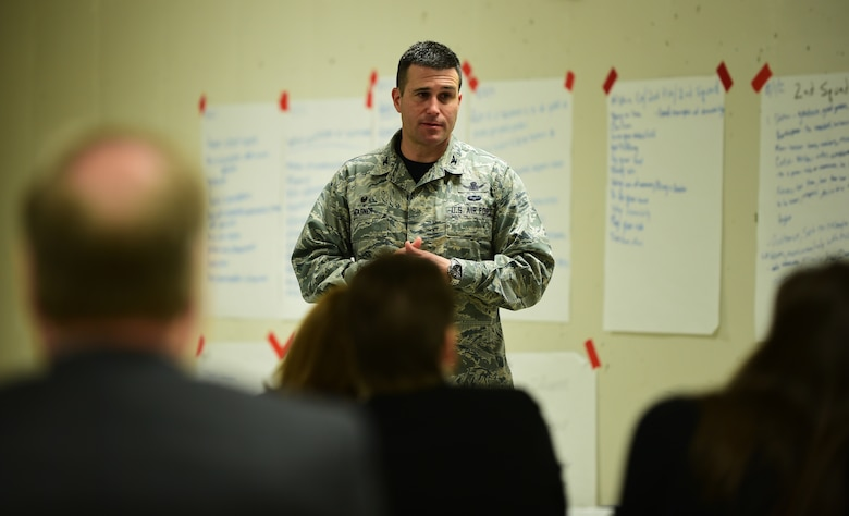 Col. John Wagner, 460th Space Wing commander, spoke with the Commerce City Leadership Program attendees regarding upcoming projects on Buckley Air Force Base March 4, 2016, at Adams City High School in Commerce City, Colo. One of the topics of discussion was acquiring 184 acres of land around the base to make a buffer-zone between the installation and the city of Aurora, preventing encroachment similar to Lowry Air Base. (U.S. Air Force photo by Senior Airman Racheal E. Watson/Released)